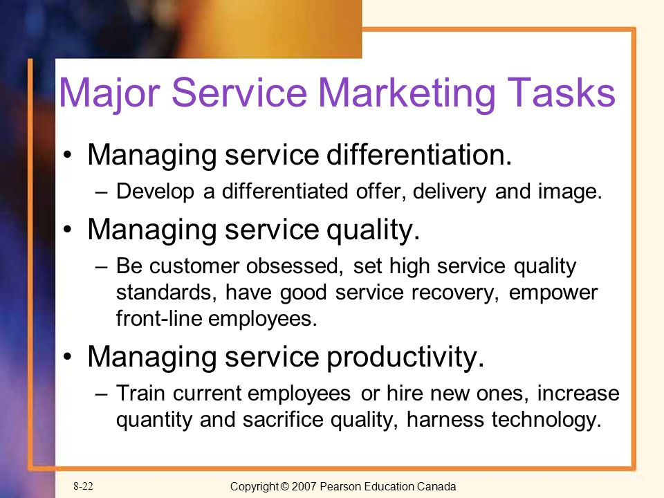 Major Service Marketing Tasks