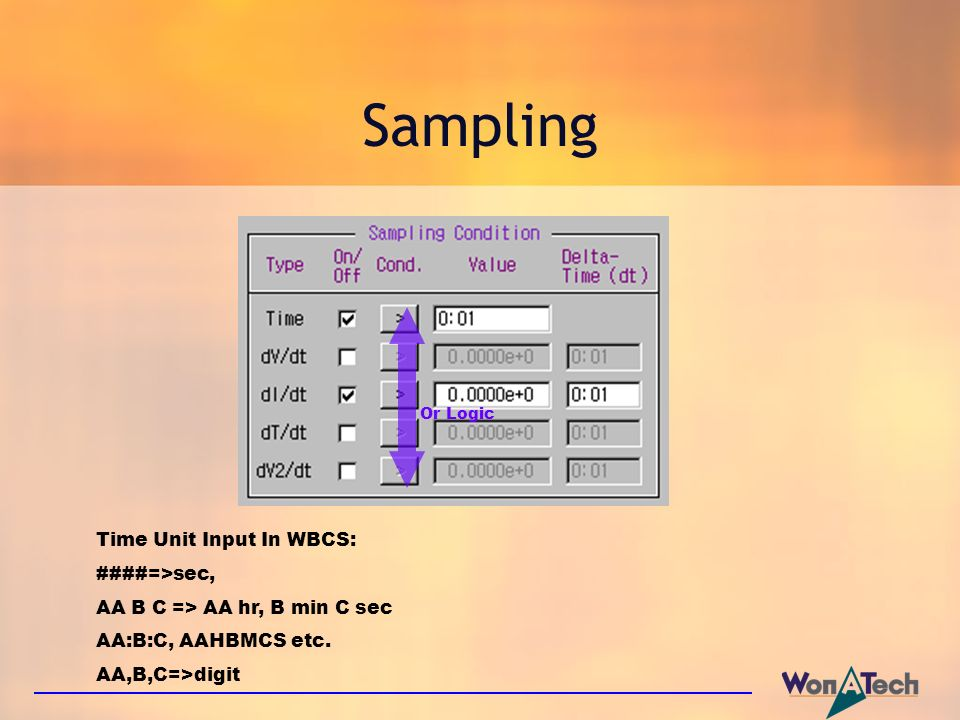 Sampling Time Unit Input In WBCS: ####=>sec,