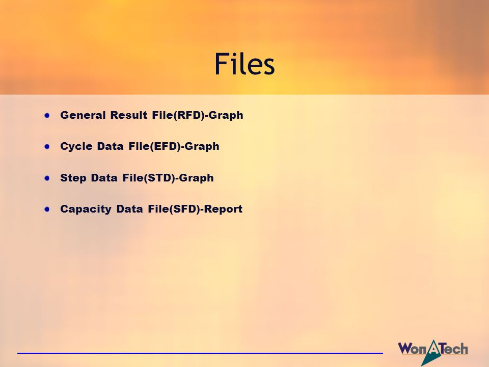 Files General Result File(RFD)-Graph Cycle Data File(EFD)-Graph