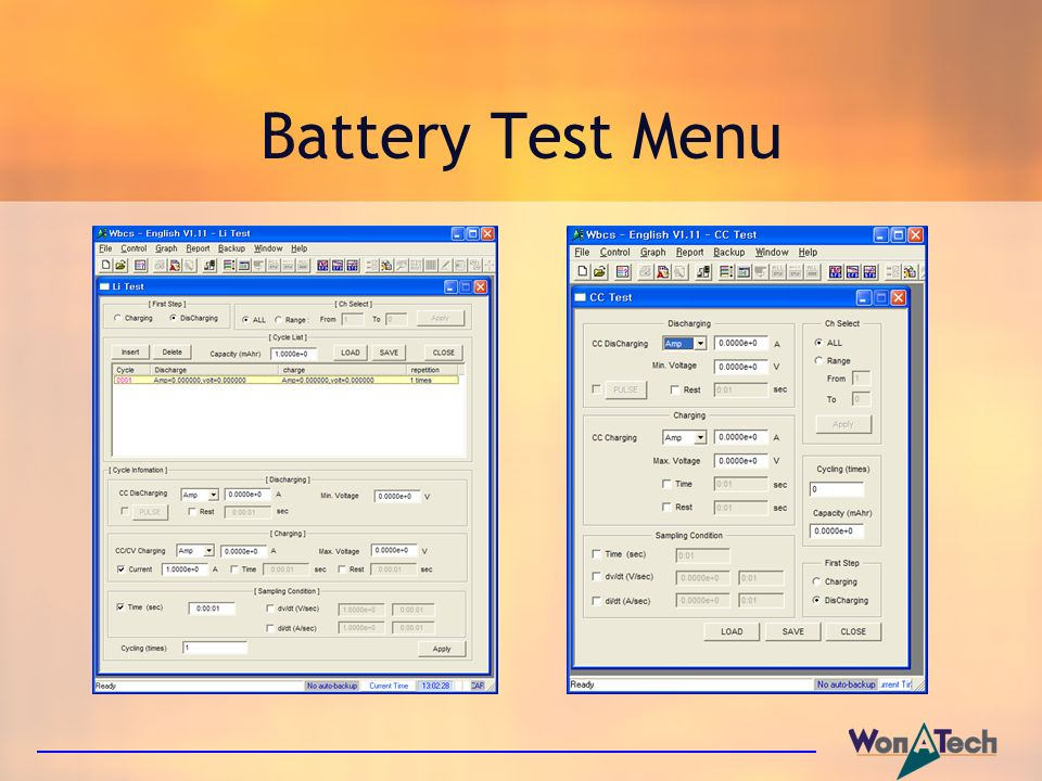 Battery Test Menu