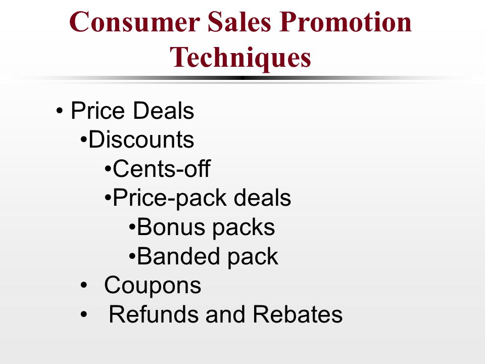 various sales promotion techniques
