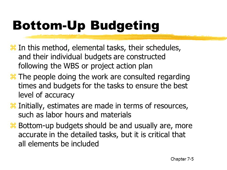 up bottom Project budget managment