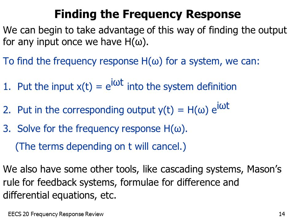Finding the Frequency Response