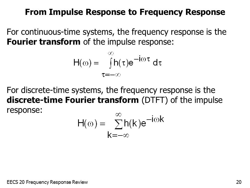 From Impulse Response to Frequency Response