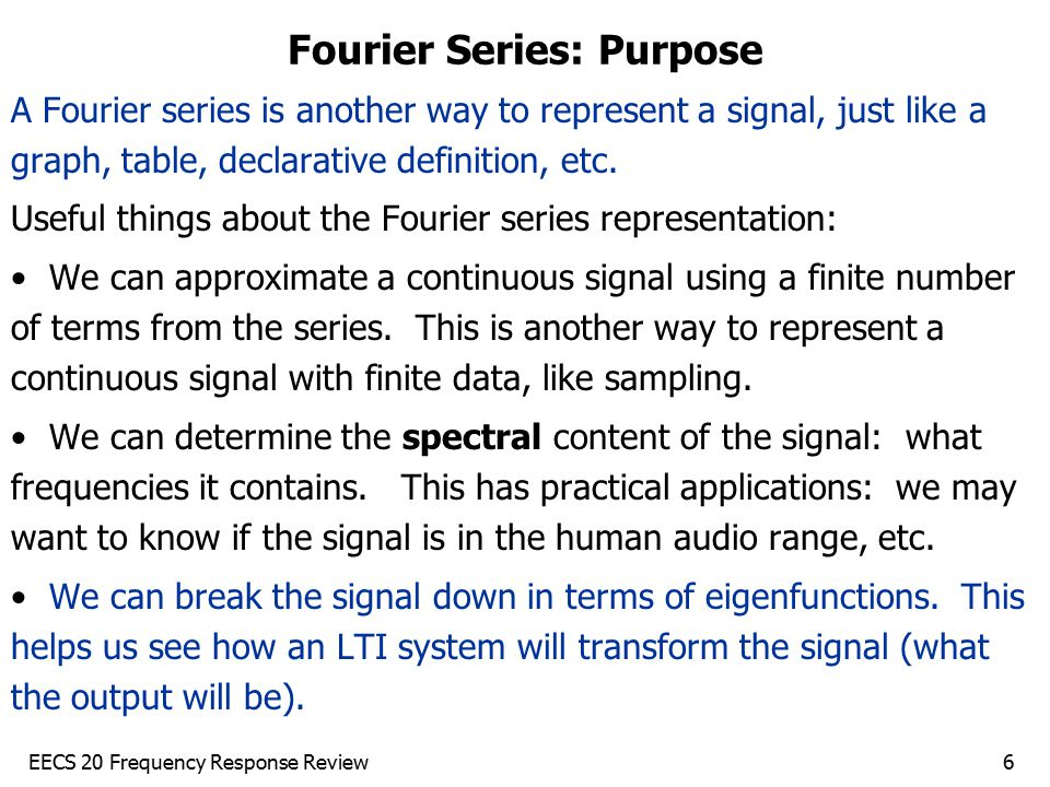 Fourier Series: Purpose