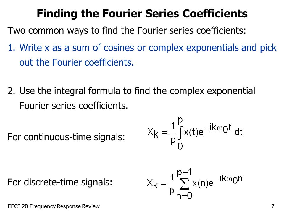 Finding the Fourier Series Coefficients