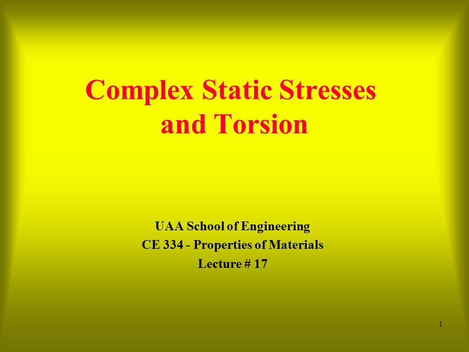 Complex Static Stresses and Torsion