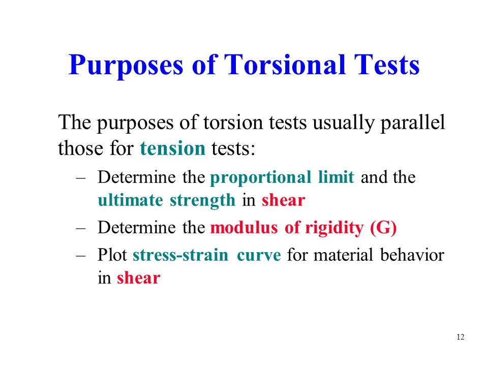 Purposes of Torsional Tests