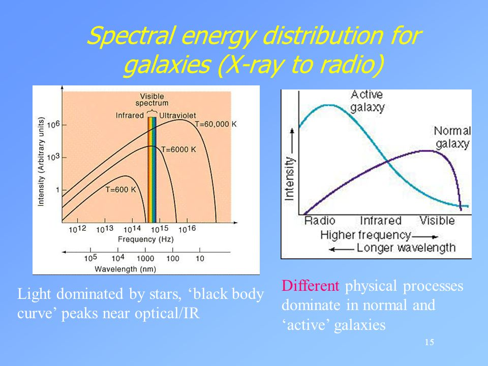 Spectral energy distribution for galaxies (X-ray to radio)