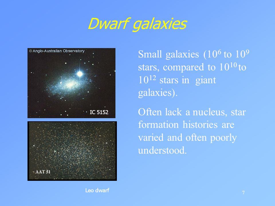 Dwarf galaxies Small galaxies (106 to 109 stars, compared to 1010 to 1012 stars in giant galaxies).