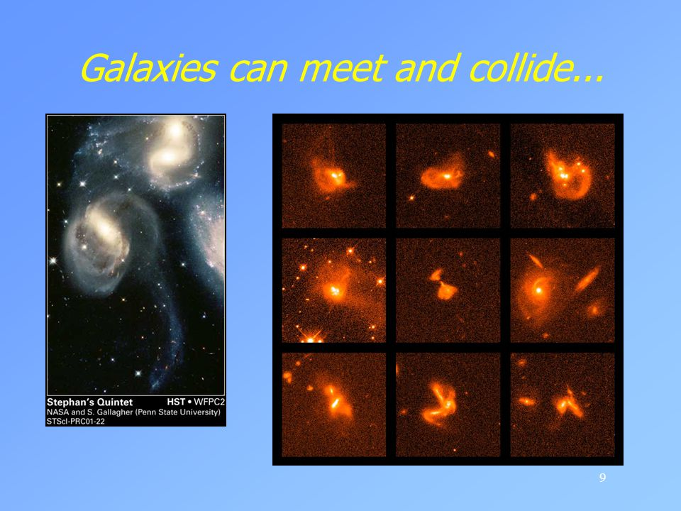 Galaxies can meet and collide...