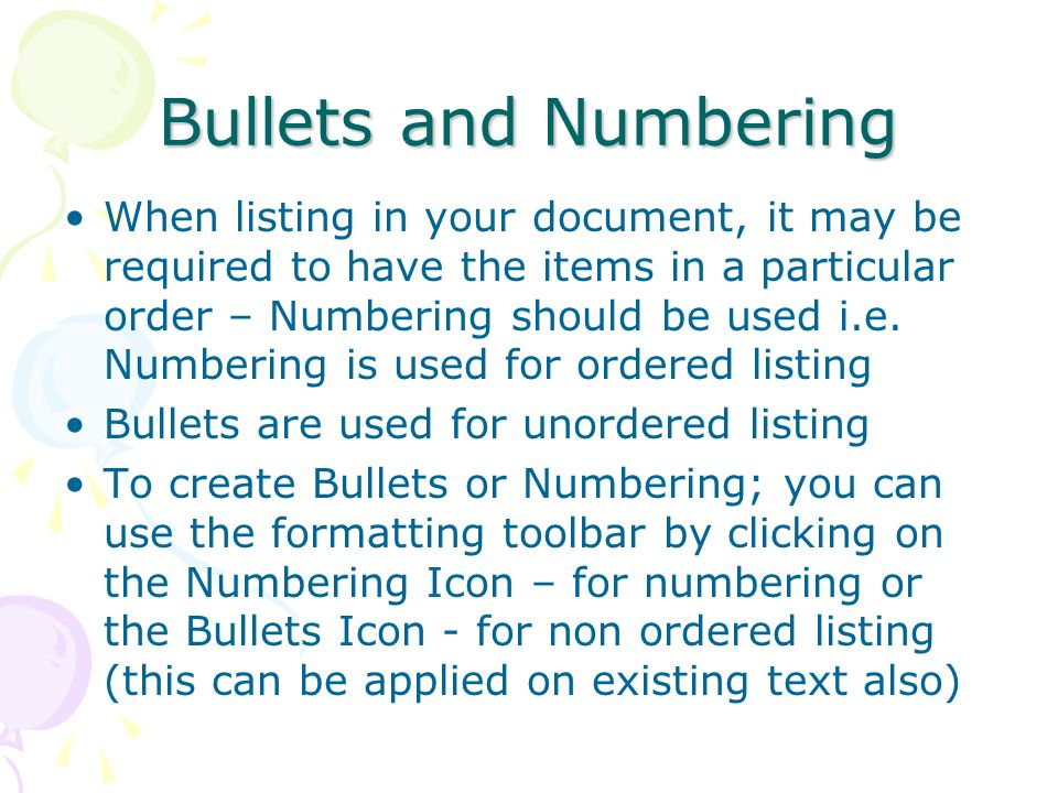 Bullets and Numbering