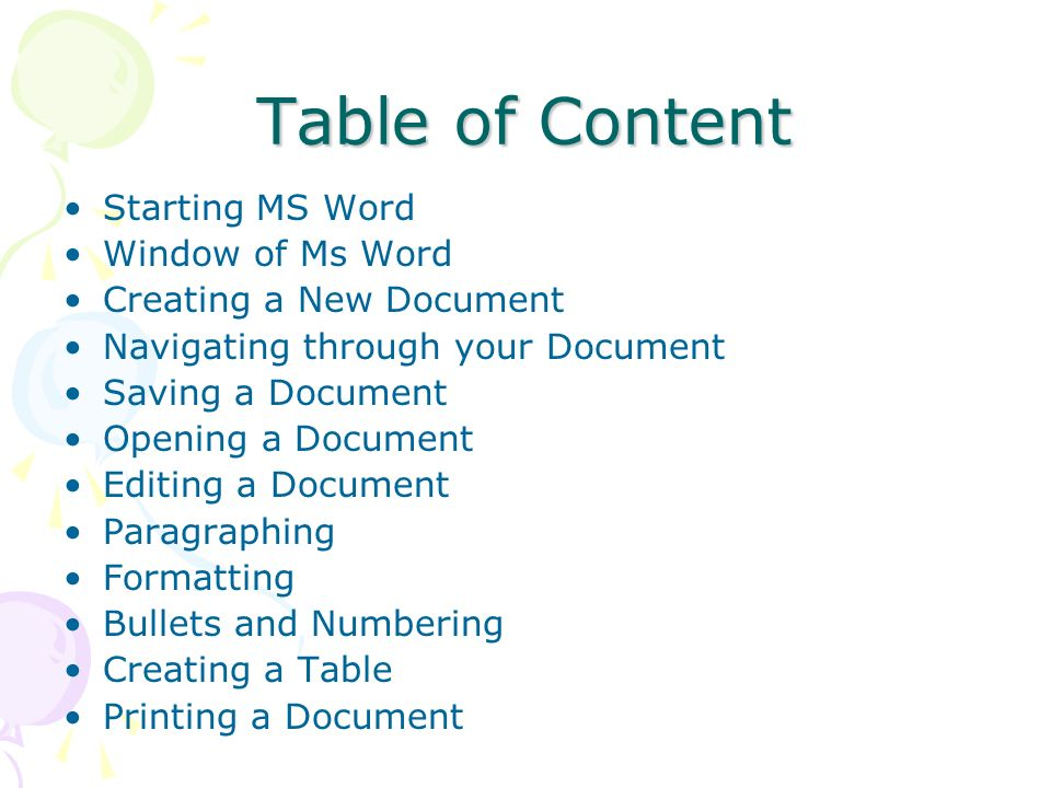 Table of Content Starting MS Word Window of Ms Word