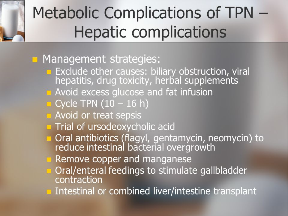 metabolic complications of tpn hepatic complications