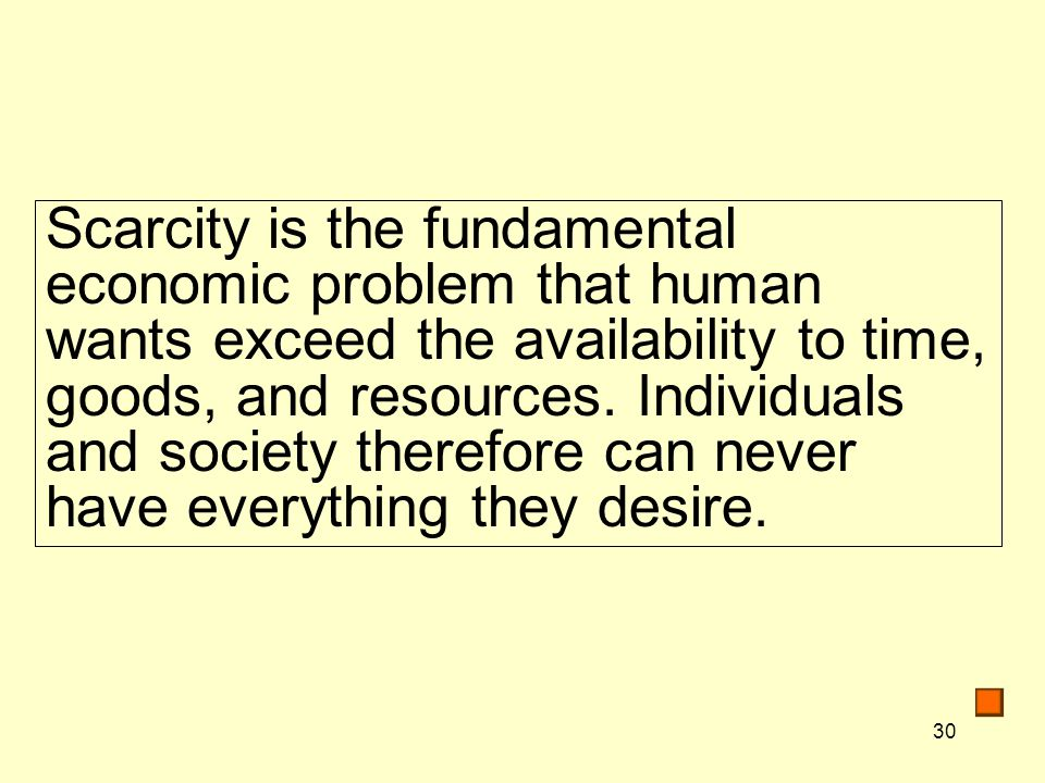 Scarcity is the fundamental economic problem that human wants exceed the availability to time, goods, and resources.