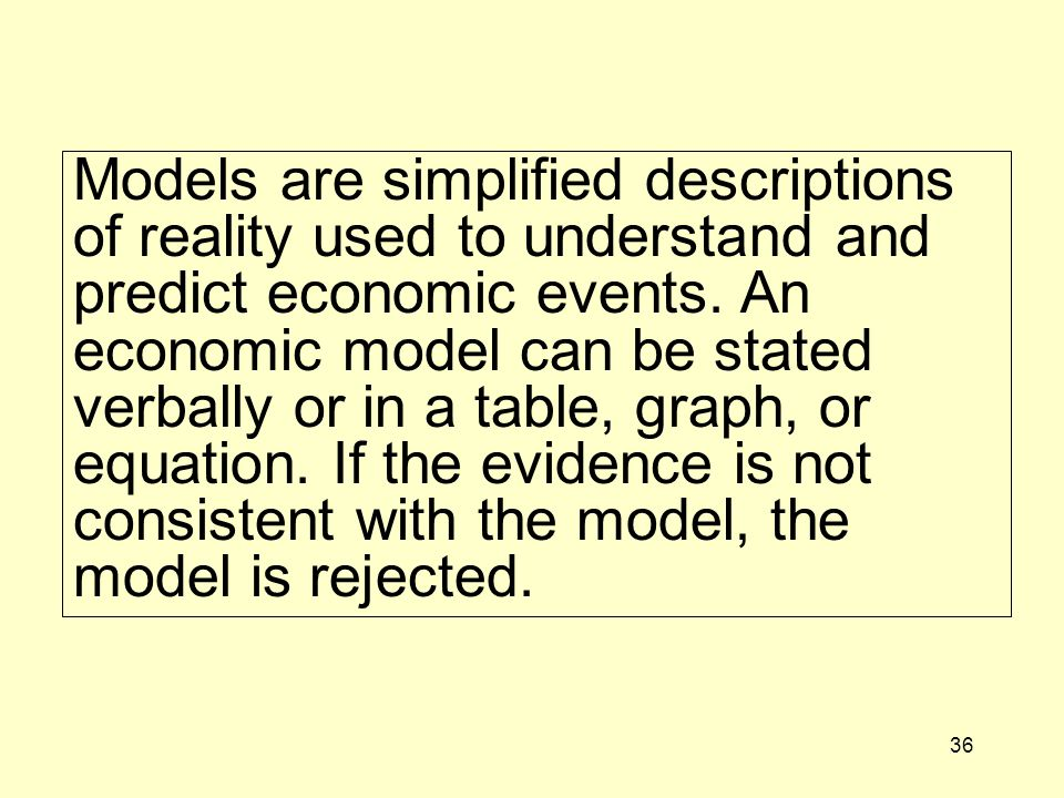 Models are simplified descriptions of reality used to understand and predict economic events.