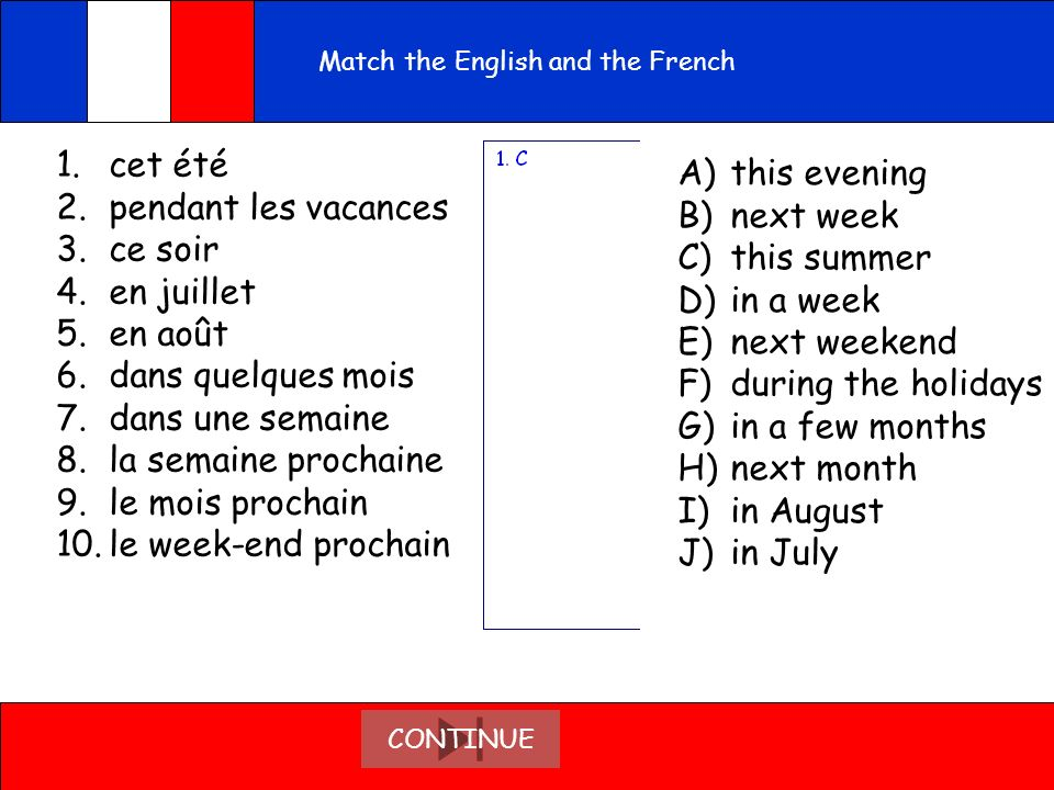 Match the English and the French