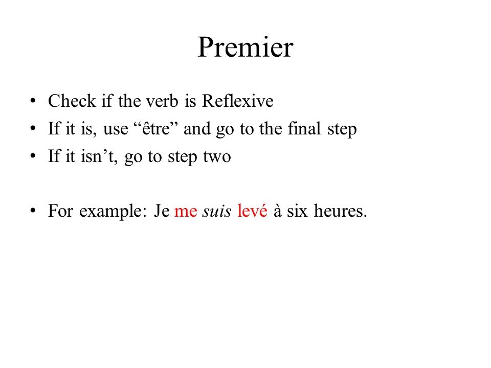 Premier Check if the verb is Reflexive