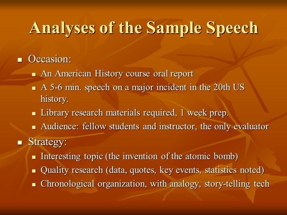 Analyses of the Sample Speech