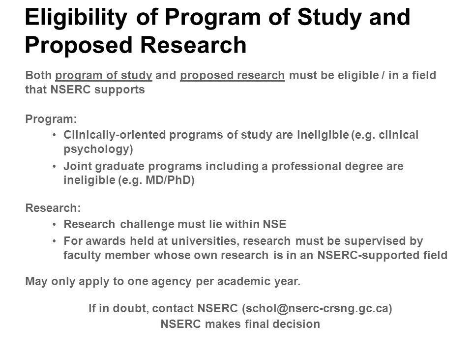 nserc cgsm research proposal
