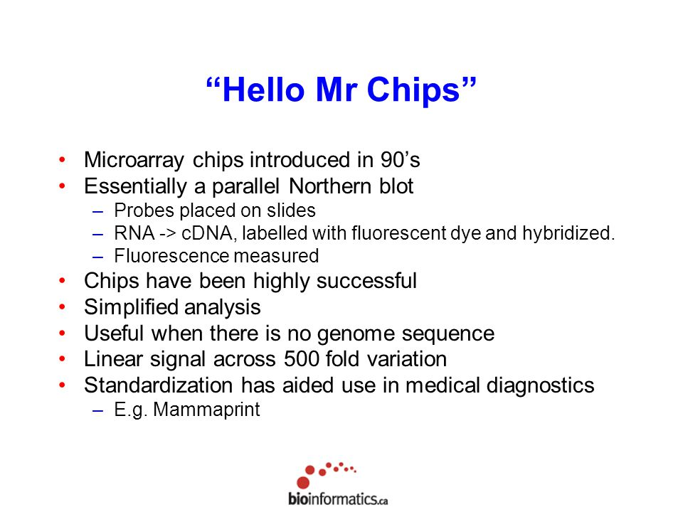 Hello Mr Chips Microarray chips introduced in 90's