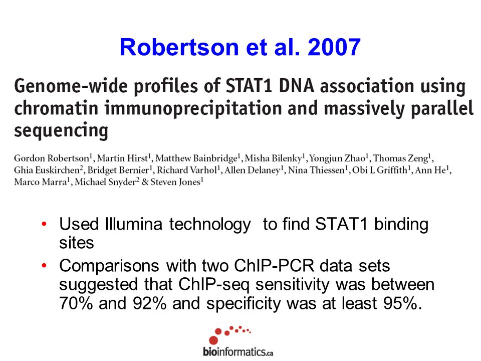 Robertson et al Used Illumina technology to find STAT1 binding sites.