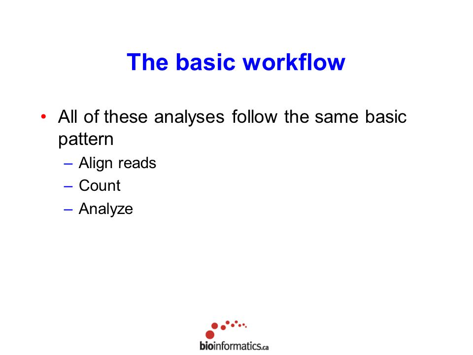 The basic workflow All of these analyses follow the same basic pattern