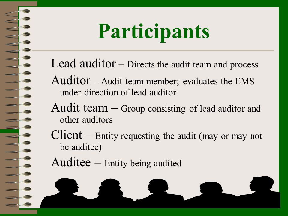 Participants Lead auditor – Directs the audit team and process