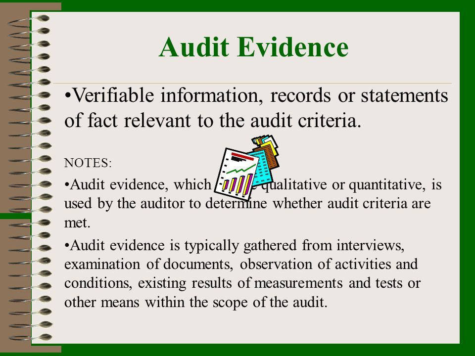 Audit Evidence Verifiable information, records or statements of fact relevant to the audit criteria.