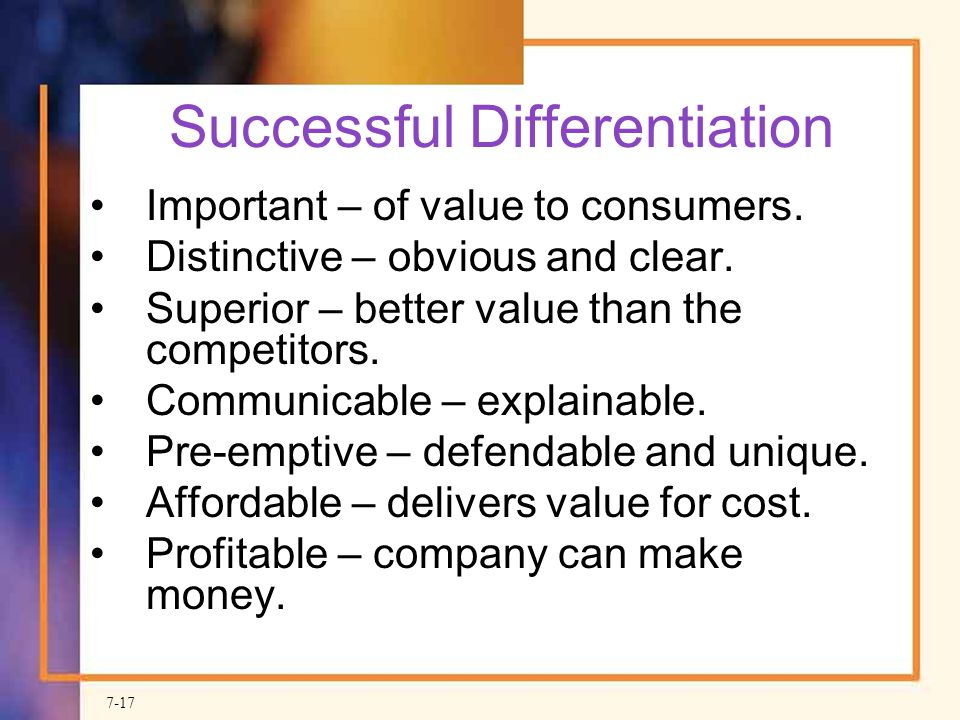 Successful Differentiation