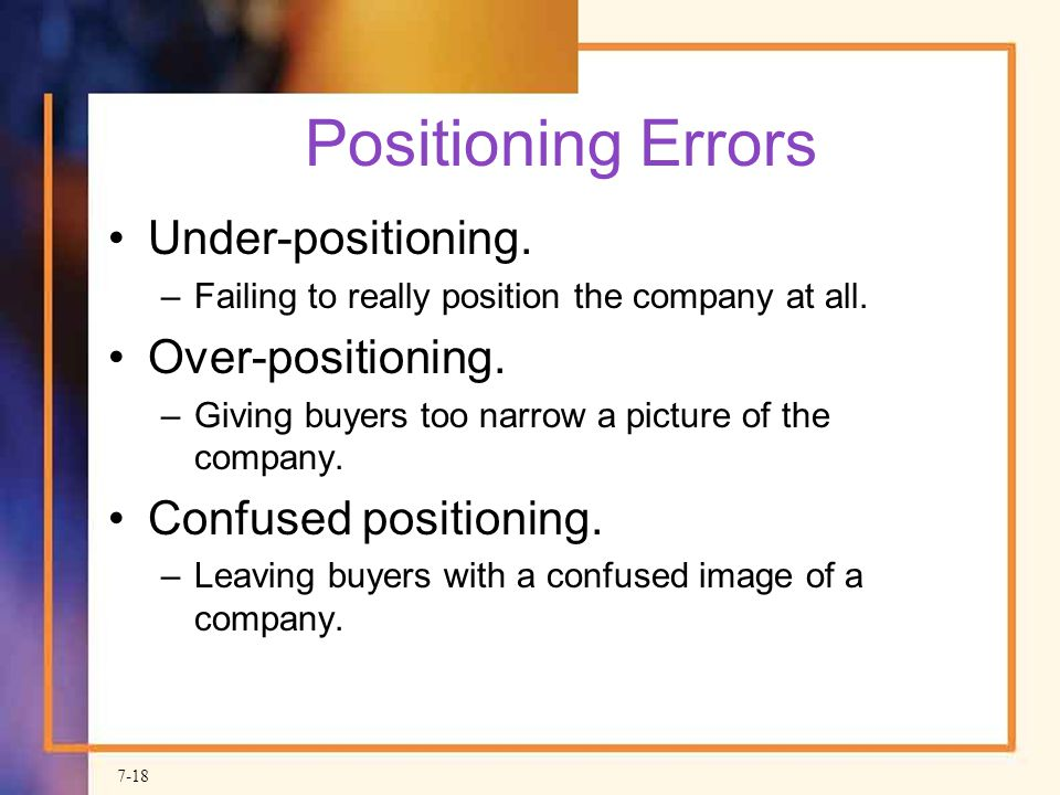 Positioning Errors Under-positioning. Over-positioning.