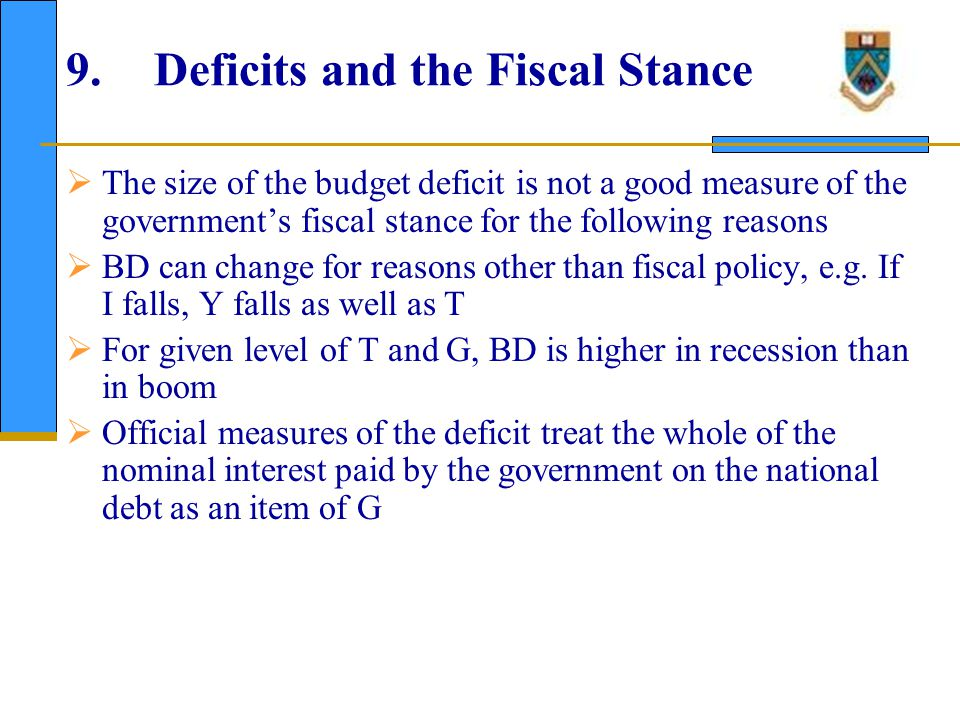 10. Deficits and the Fiscal Stance