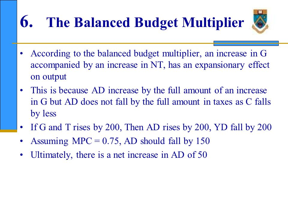 7. The Government Budget The budget deficit equals total government spending. minus total tax revenue; BD = G -NT.