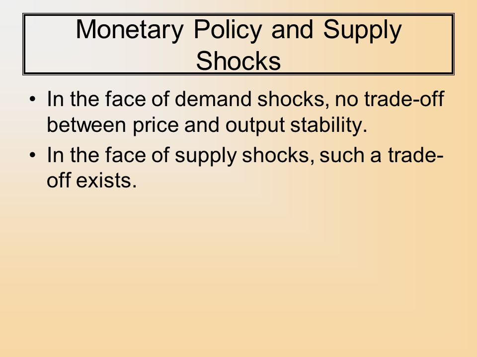 Monetary Policy and Supply Shocks