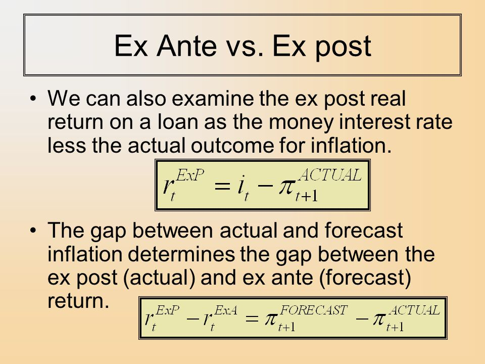 Ex Ante vs. Ex post We can also examine the ex post real return on a loan as the money interest rate less the actual outcome for inflation.
