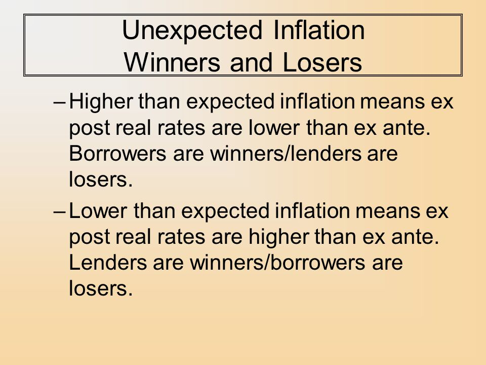 Unexpected Inflation Winners and Losers