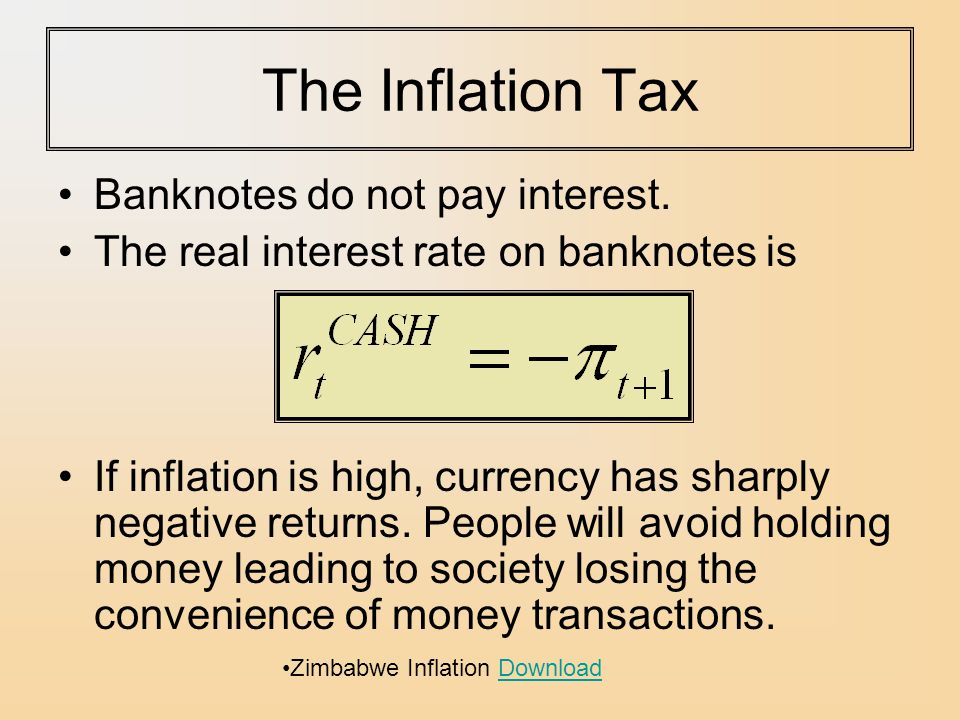 The Inflation Tax Banknotes do not pay interest.