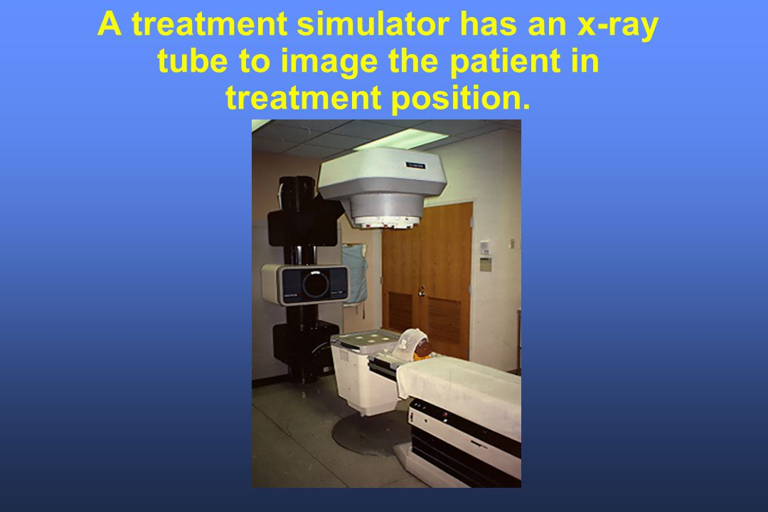 A treatment simulator has an x-ray tube to image the patient in treatment position.