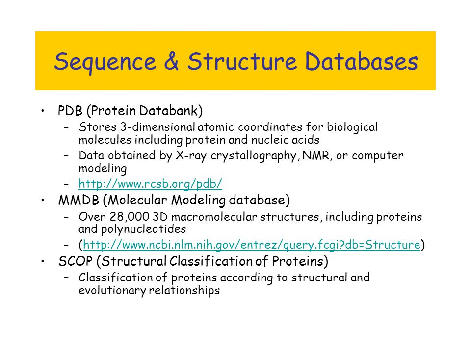 Databases in Bioinformatics - ppt download