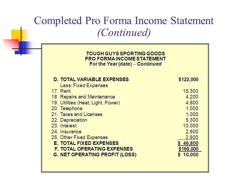 Completed Pro Forma Income Statement (Continued)