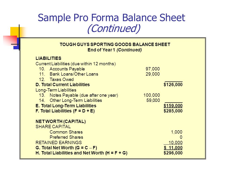 Understanding Your Financial Requirements Ppt Video Online Download - Pro forma balance sheet template