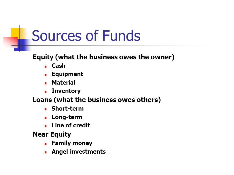 Sources of Funds Equity (what the business owes the owner)