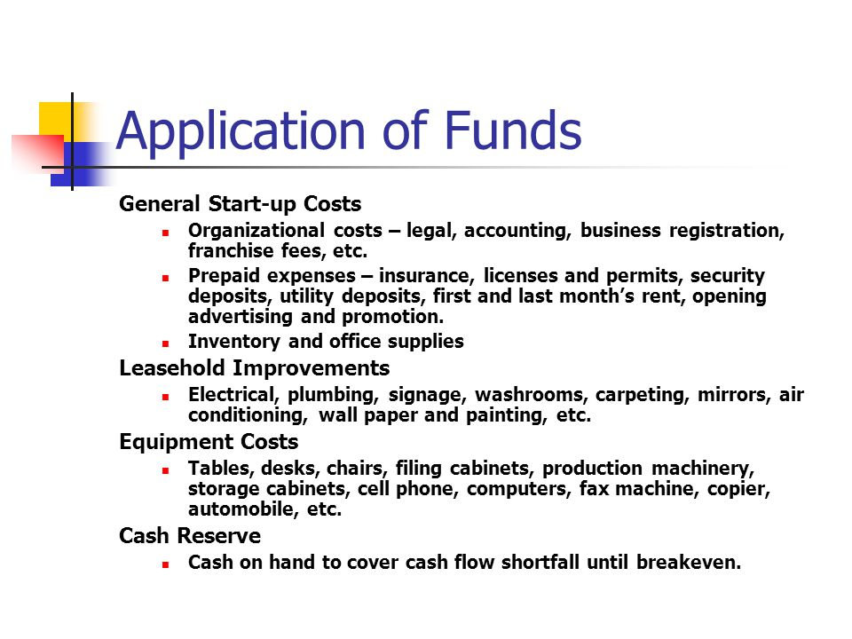 Application of Funds General Start-up Costs Leasehold Improvements
