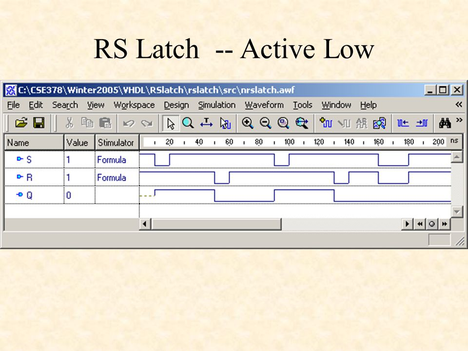 RS Latch -- Active Low