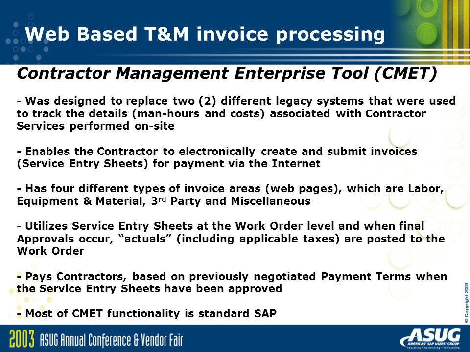 asug session 4709 web based t m invoice processing using sap mm esm