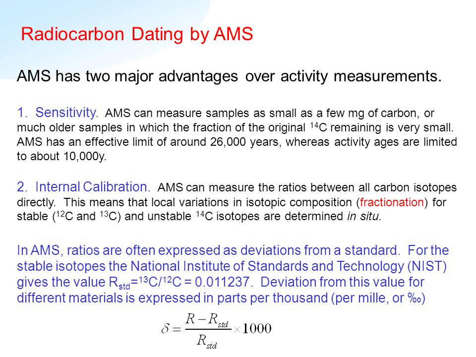Carbon dating over 50 000 years