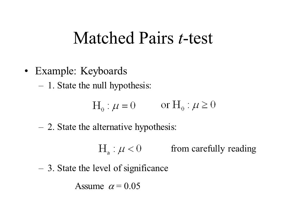 Matched pairs t-test module 22a. Matched pairs t-test to this.
