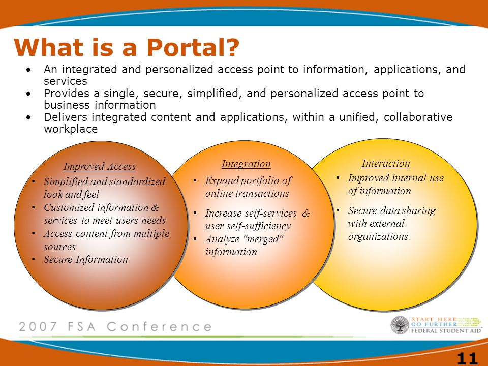 What is a Portal An integrated and personalized access point to information, applications, and services.