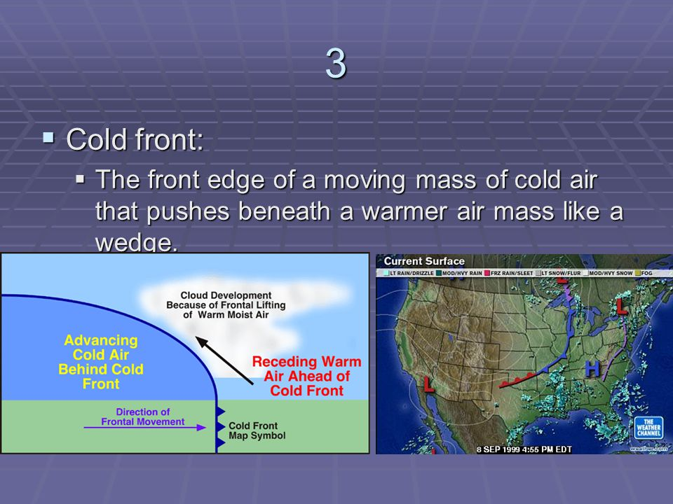 3 Cold front: The front edge of a moving mass of cold air that pushes beneath a warmer air mass like a wedge.