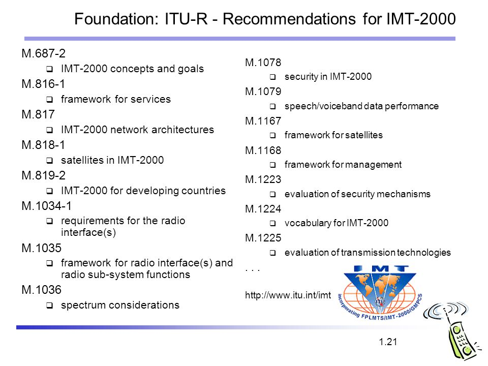 Foundation: ITU-R - Recommendations for IMT-2000